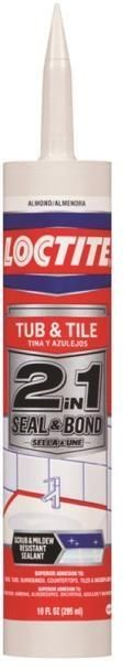 Loctite 1936543 2 in 1 Seal and Bond Tub and Tile Sealant, Almond