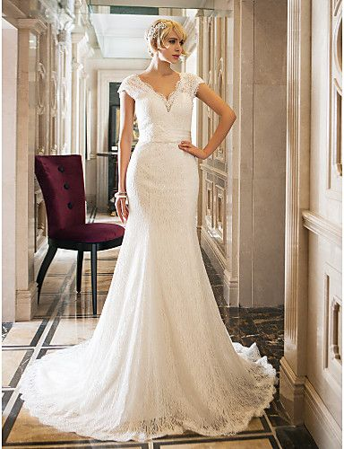 Trumpet/Mermaid Queen Anne Court Train Lace And Stretch Satin Wedding