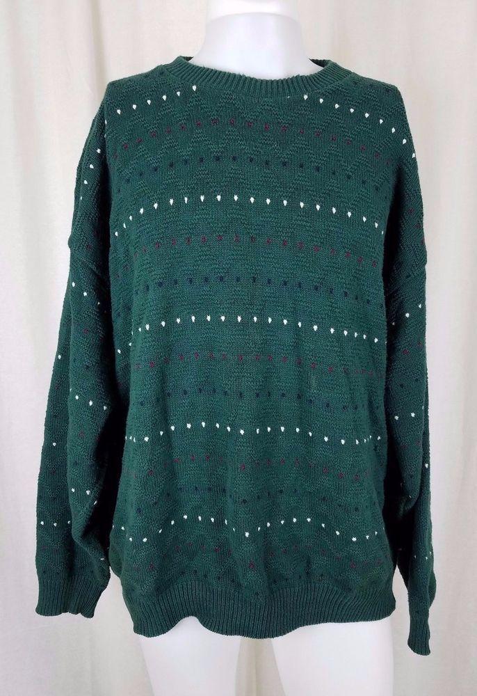 Vintage 80s Kittery Trading Post Maine Birdseye Ski Knit Sweater Mens XL Green #KitteryTradingPost #Crewneck