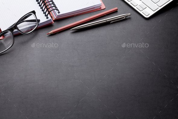 Office desk with computer and supplies by karandaev. Office desk with computer and supplies. Top view with space for your text
