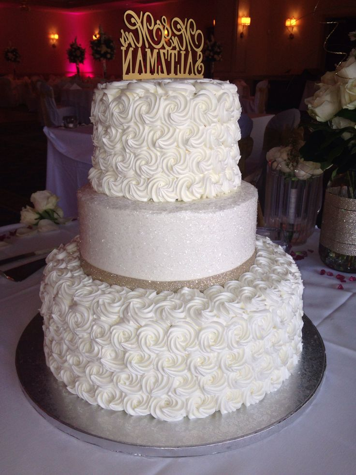 Publix wedding cake for 120 people. Under $400. Great buy and delicious! Just brought them the ribbon from craft store and ordered a personalized topper from Etsy!