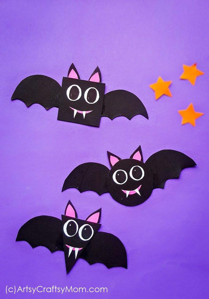 Form Fledermäuse Halloween Paper Craft für Kinder im Vorschulalter + kostenlose Vorlage
