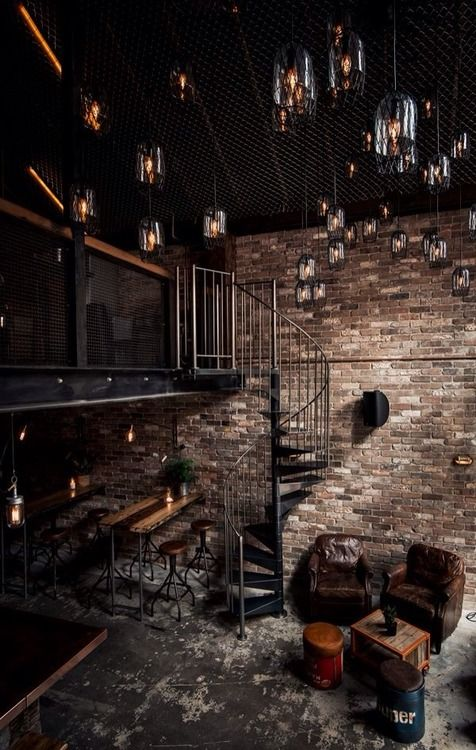 loft with huge height and awesome lightning! #bricks #concrete #metal #staircase #leather
