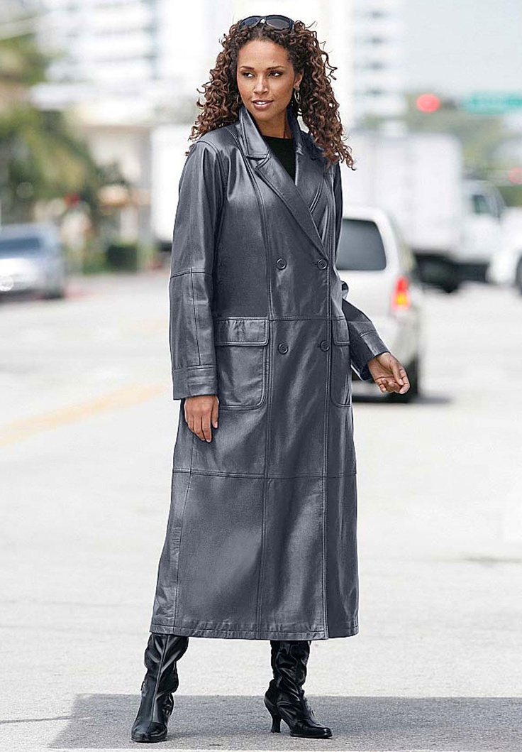Milf flashing in leather coat used