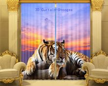 2016 Hot Tiger 3D Foto Afdrukken Verduisterende Gordijnen Voor woonkamer Meisjes/Kids Jongens Beddengoed kamer Gordijnen Cortinas(China (Mainland))