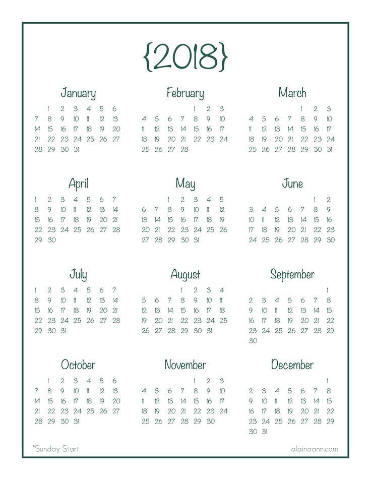 2018 Year-at-a-Glance Calendar {Free Printable}
