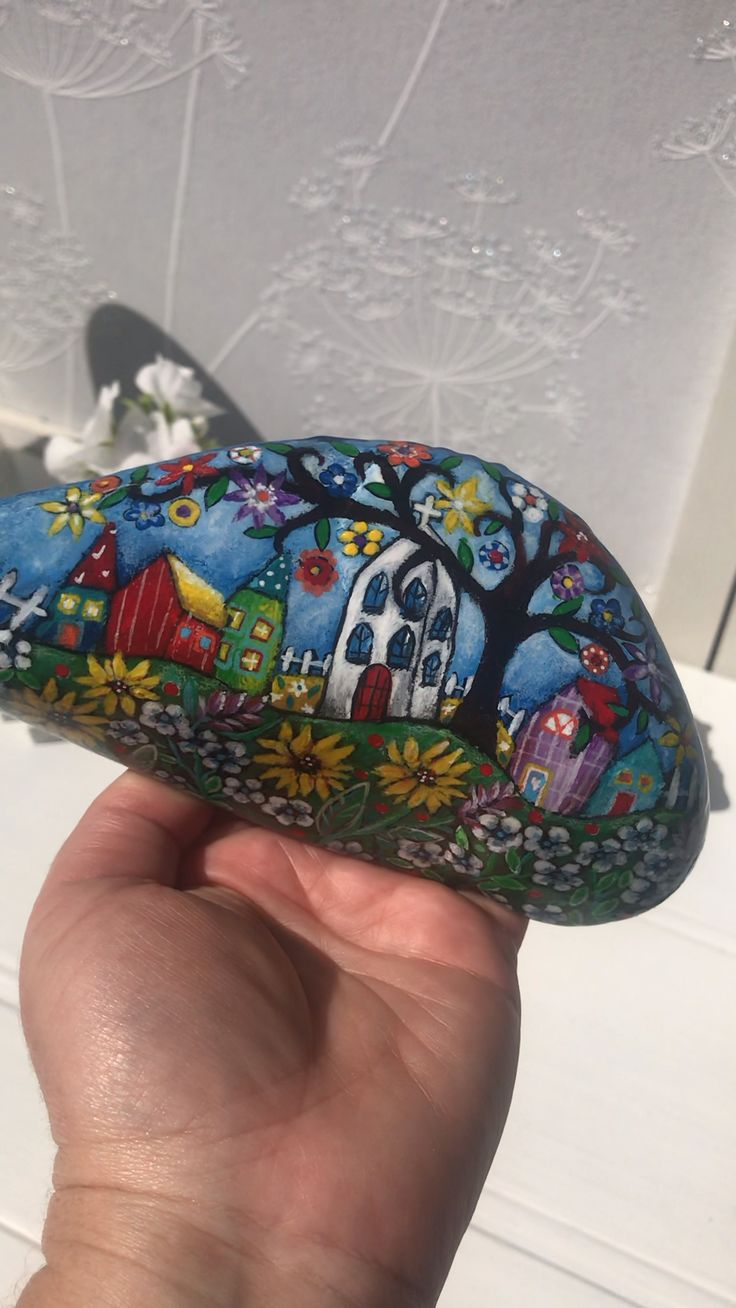 Naive art painted rock by Christine Onward