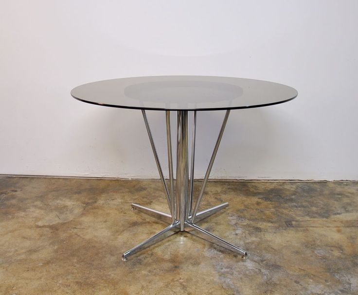 Mid-Century Modern Chrome Smoked Glass Round Dining Table Atomic Age Dinette 50s #MidCenturyModern