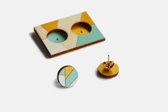 Geometric Wooden Stud Earrings, Li.Lo Hoops gold, white and light blue, Hand-painted Earrings