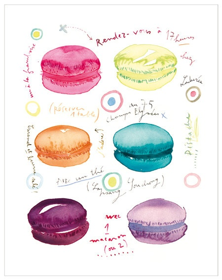 Tea time at Laduree Paris French macaron poster by lucileskitchen, $40.00