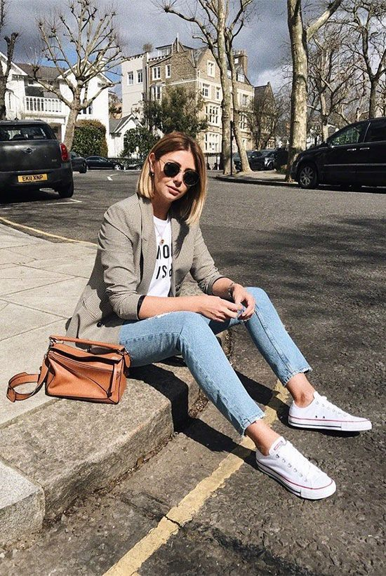 Plaid blazer, white graphic tee, raw hem skinny jeans, white converse sneakers, …