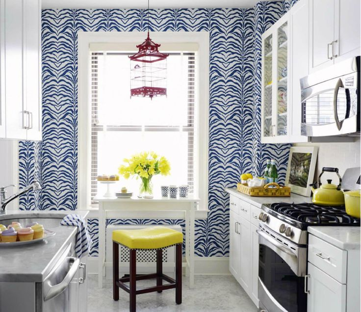 Eclectic Style Kitchen With Great Cobalt Blue And White Wallpaper Lemon Yellow Decorative Accents From
