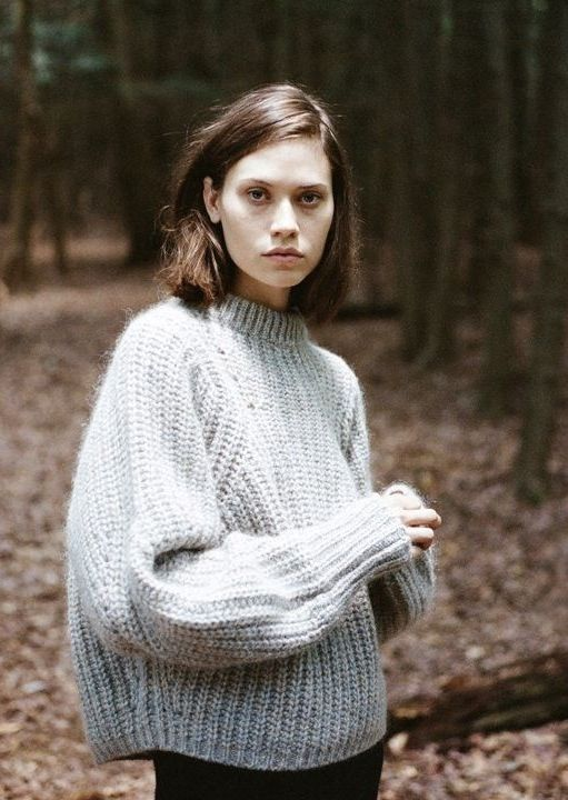 Grey cable knit jumper MINIMAL + CLASSIC: lagarconne