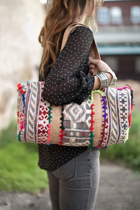 Trimmed Tapestry Duffle Bag