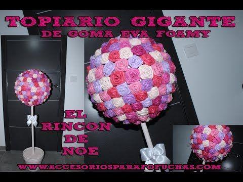Topiario Gigante Rosas Goma Eva /Foamy El Rincón de Noe - YouTube