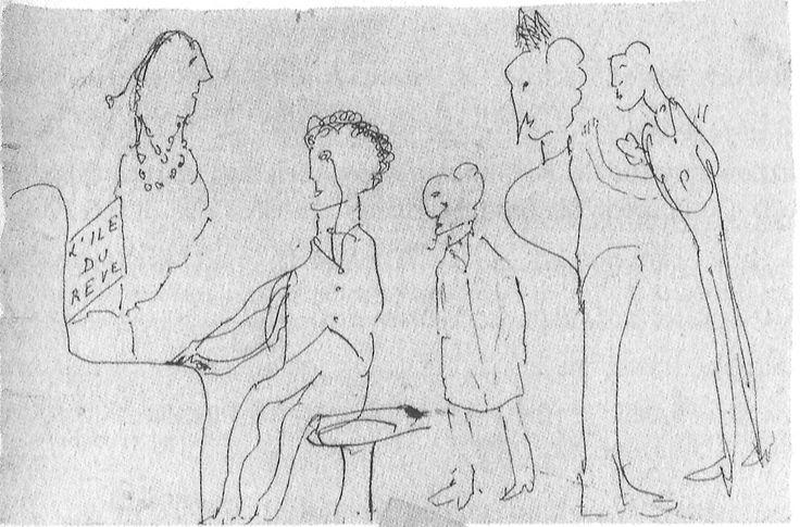 "Dibujo a pluma garabateado por Proust. Sobre el piano, ""L'île du rêve"", de Reynaldo Hahn. Este es uno de los dibujos que rescató Jacques Guêrin."