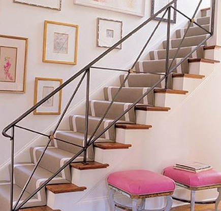 ornamental wrought iron staircase railing, open iron railing, picture wall