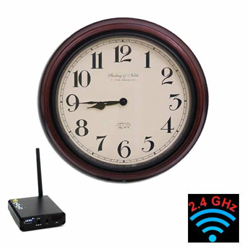 """Professional grade quality color hidden wireless video camera for nice clear image with wireless video receiver kit to go video cable free. Hidden camera and receiver requires AC power to plug in. The wooden design wall clock wireless hidden video camera is small size and can place on any desk, table or shelf. High resolution 550 color camera with 1/3"""" Sony CCD image built into the fully functional device. To maximize transmitting frequency up to 500 feet, receiver must be Line of Sight or…"""