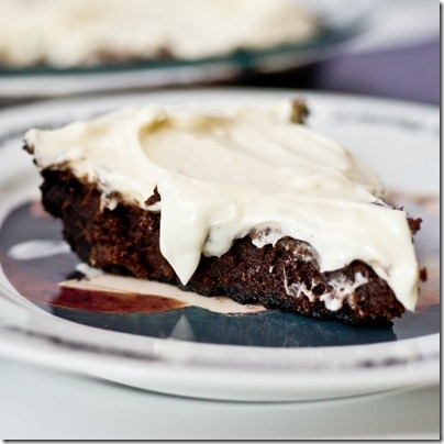 Oreo Crusted Brownie Pie with Cream Cheese Icing - my husband's new favorite dessert!