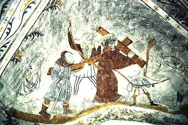 """Christ carrying the cross is insulted by passers-by [for details SEE PREVIOUS]  REPINNED FROM MY NEW """"LATE MEDIEVAL SCANDINAVIAN CHURCH WALL PAINTINGS"""" BOARD"""