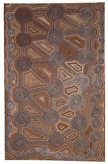 Tingara Cycle, Charlie Tjungurrayi, Pintubi, Papunya, 1980.  Tingara Cycle, Charlie Tjungurrayi; Acrylic on canvas; Pintupi,  Papunya, 1980; 76.5 x 121 cm; Coll. Heermann.  Photo: U. Didoni