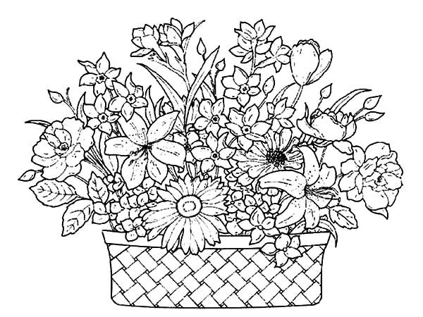 A Basket Of Flowers Full Beautiful Coloring Pages