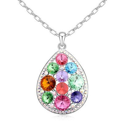 Drop Shape Crystal Necklace $30.00