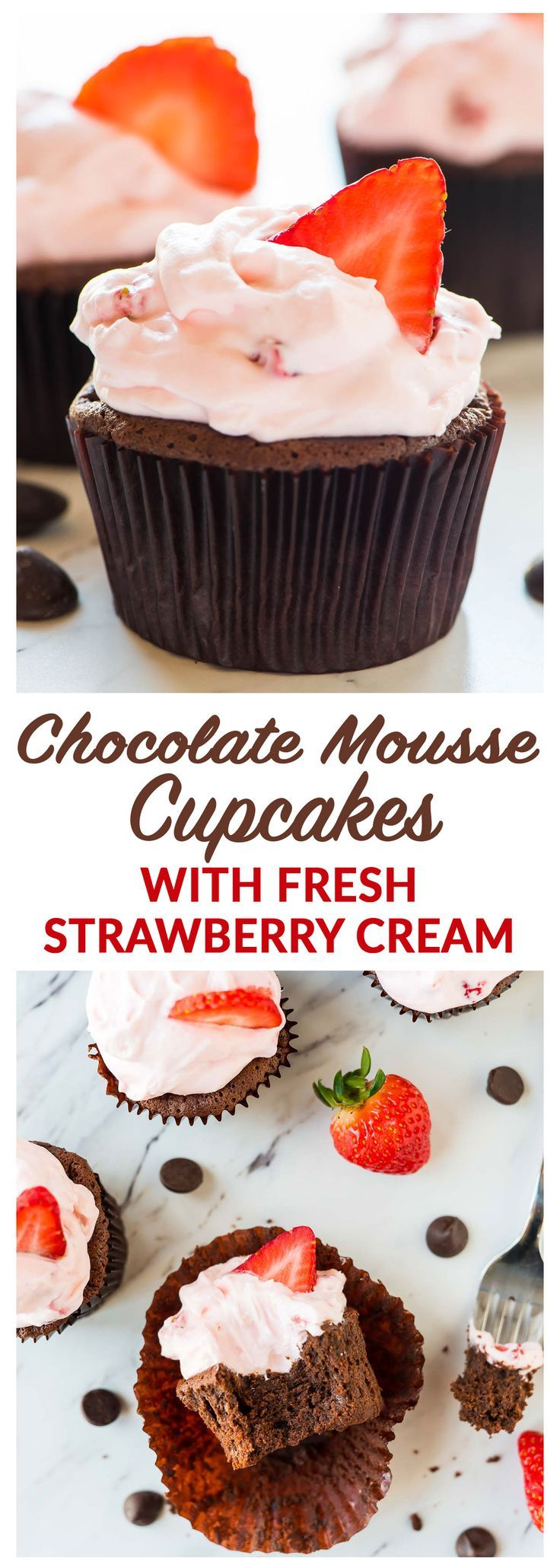 Chocolate Mousse Cupcakes with fresh strawberry cream cheese frosting.  So much easier than traditional chocolate mousse! Rich, silky, and perfect anytime you need a special dessert. The whipped cream strawberry frosting is good enough to eat with a spoon! Recipe at wellplated.com | @wellplated {gluten free}