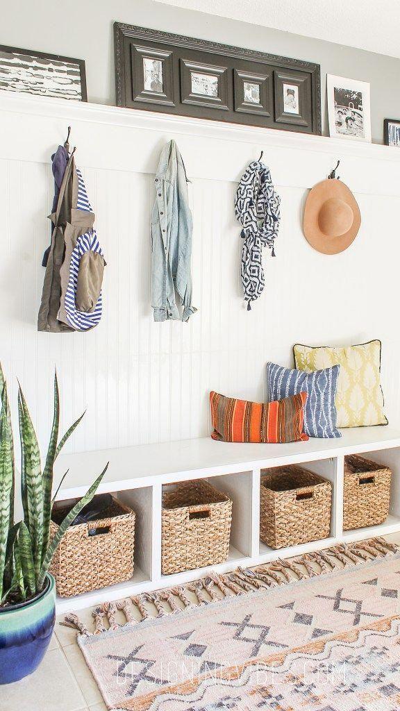 diy custom mudroom under $200 beadboard #HomedecorIdeas Home decor