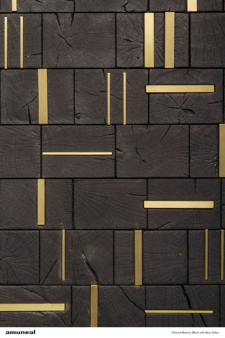 Feature Wall | Charred Butcher Block with Brass Inlays