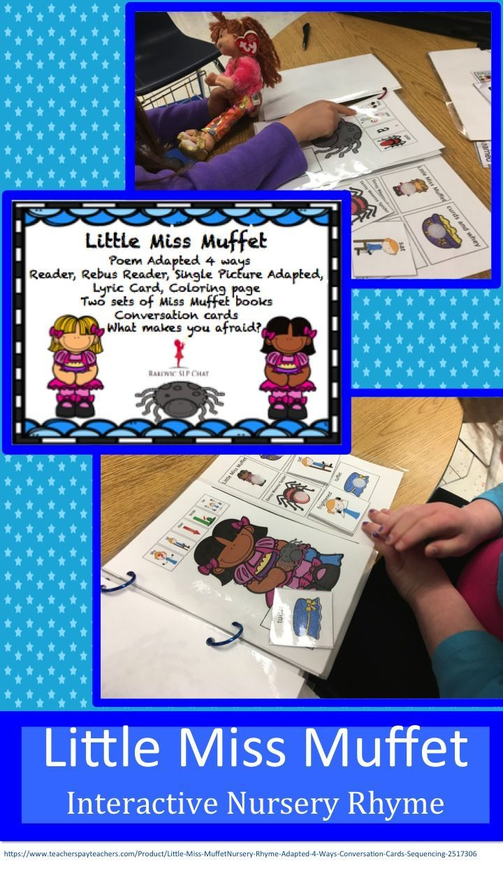 Little Miss Muffet Nursery Rhyme that has four different versions. My students love to read and act it out!