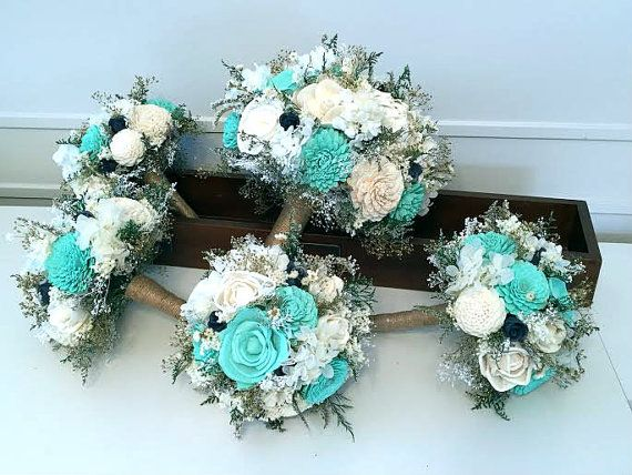 Teal Aqua mint Navy Wedding Bouquet  sola flowers  by SylCadle