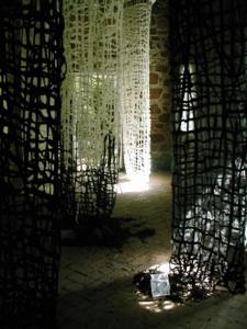 Immram textile installation - organza and felt at Norton Priory