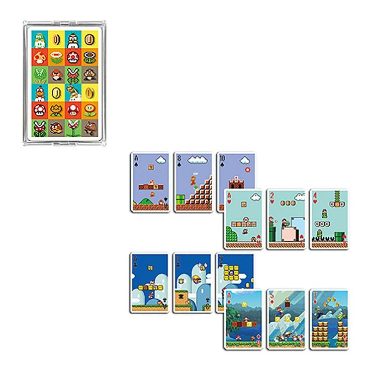 Nintendo Playing Cards Super Mario Game Stage  https://www.retrogamingstores.com/gaming-accessories/novelty-playing-cards-super-mario-game-stage  The cards can be used to play poker or any other card games