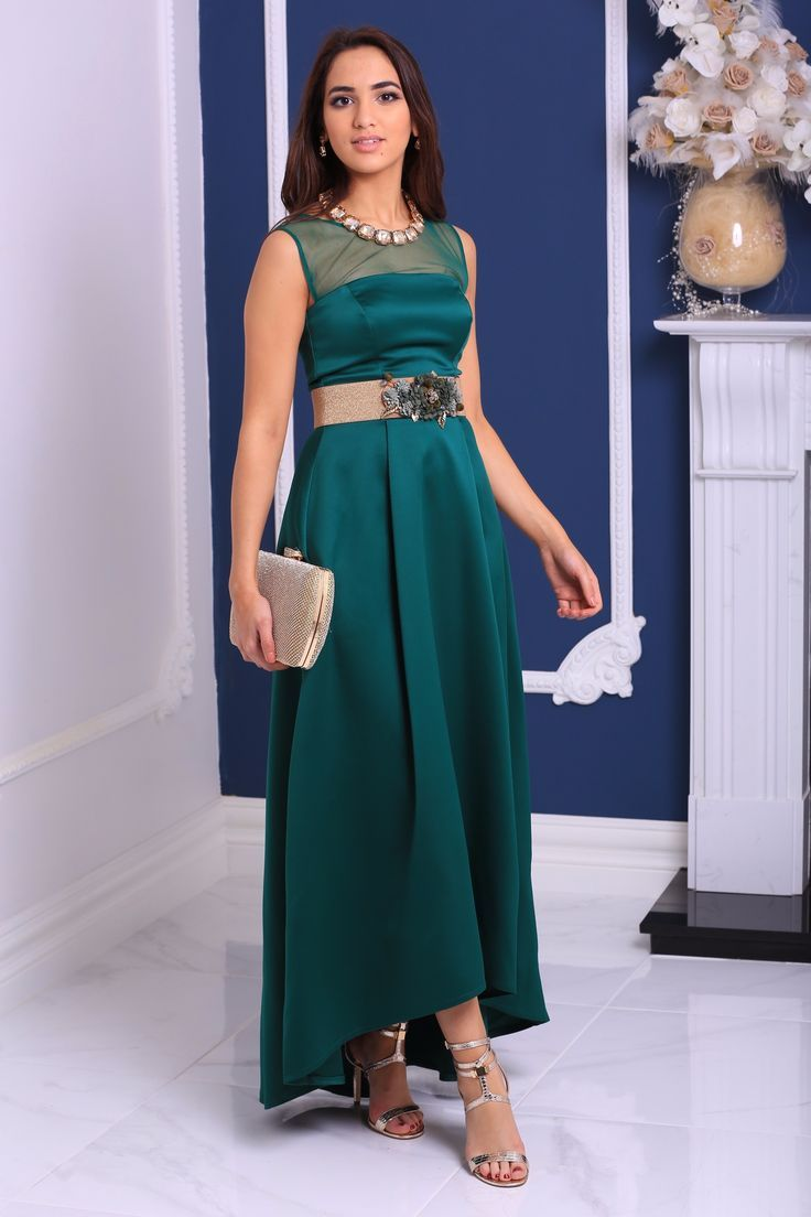 30d72bee5644 TERPSICHORE Sleeveless Emerald Green Satin Maxi Dress with Mesh Detailing in  2018