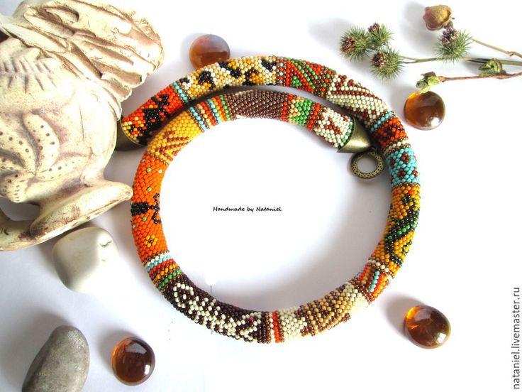 """Купить Жгут """"Путешествие в Африку"""" из японского бисера - разноцветный, жгут из бисера, жгут"""