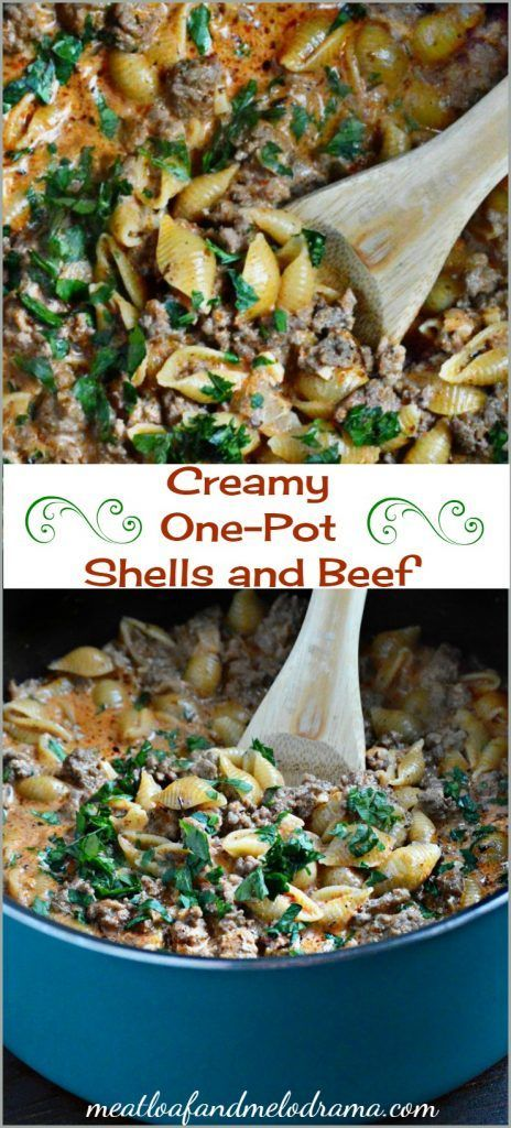 Creamy one pot shells and beef. An easy dinner recipe with seasoned ground beef and pasta cooked in a tomato cream sauce. Takes 30 minutes to make and uses 1 pot for easy clean-up!