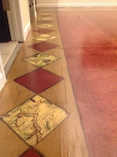 Decopage Flooring, Diy Flooring, Flooring Ideas, Paper Bag Floors, Paper Floor, Brown Paper Bag Floor, Map Border, Border Floor, Floor Counter Top