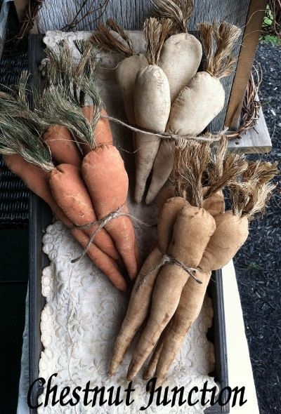 Prim Carrots EPATTERN...country primitive easter spring fake food sewing craft…