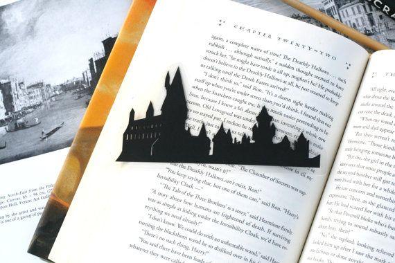 Hogwarts Castle-Hand-Schnitt Silhouette Bookmark, Harry Potter, Literatur-Bookmark, Ron und Hermine, Dumbledore