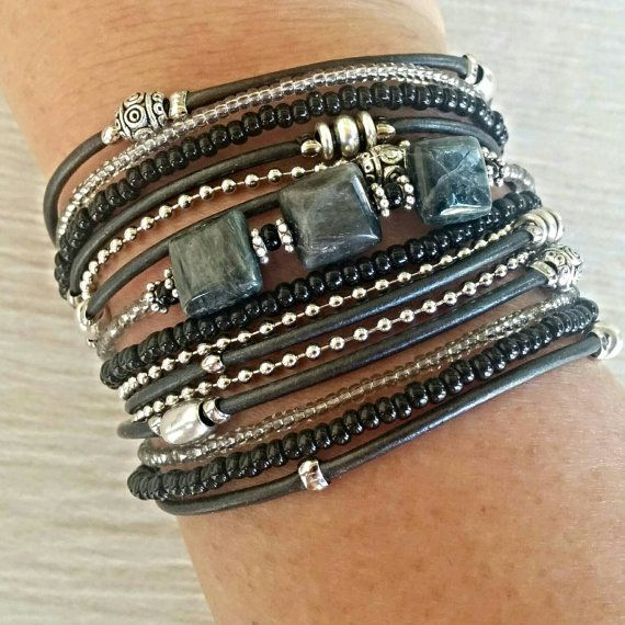 Check out this item in my Etsy shop https://www.etsy.com/listing/245033619/boho-black-and-gray-wrap-bracelet