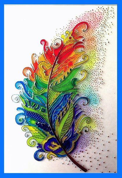 Символизм ручной работы. Ярмарка Мастеров - ручная работа. Купить Картина на стекле - Перо. Handmade. Перо, Витраж, витраж перо