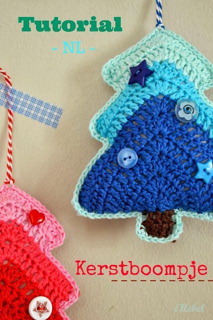 Christmas Crochet Ellebel Christmas tree crochet tutorial by Ellebel Kerstboom haken, patroon vertaald door Ellebel. Link in blogpost.