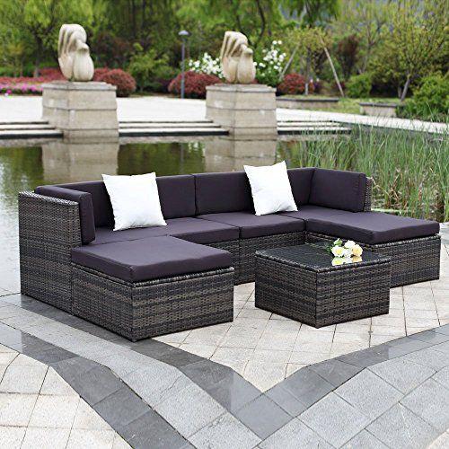 IKAYAA Outdoor Patio Garden Furniture Sofa Set 7PCS Cushioned Ottoman Corner Couch Sectional Furniture Rattan Wicker (Gray   Black Cushion   White Pillow)