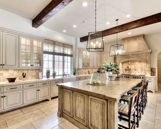 Traditional Kitchen With Antique Off White Kitchen Cabinets Also Vintage Kitchen Island Design Also Twin