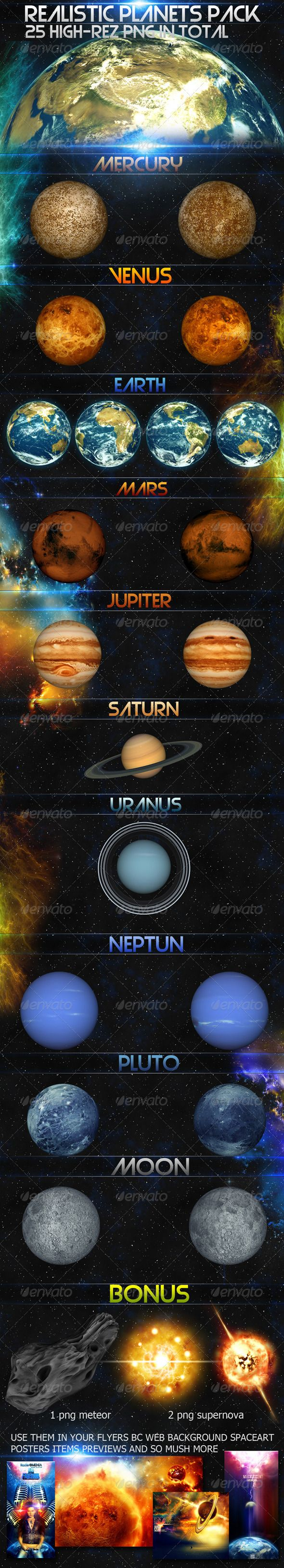 Realistic planets pack  #GraphicRiver         In this package you will find a high resolution realistic planets that you can use them in your flyers backgrounds for your website ,artworks,posters and so mush more .  	 And you will find 3 bonus files: 2 PNG files for supernova render 1 PNG files for meteor  About the Author My name is ZAKI , 20 years old graphic designers , who dedicated himself to learn all the sorts of computer graphics by love , i'm using many programmes since 2007 , and…