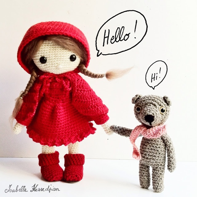 Crochet Doll by Isabelle Kessedjian from her book Ma poupée au crochet