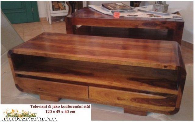 Dřevěný TV stolek 2 zásuvky indie masiv