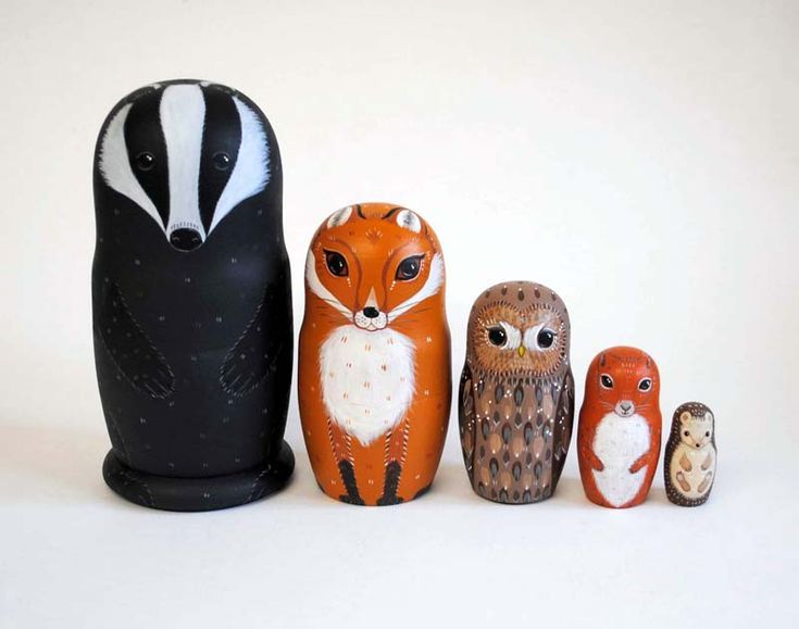 Alice Darkling Woodland Russian Dolls Badger Fox Owl