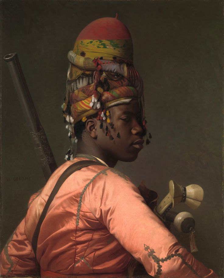 This painting of Gerome is ingenious! Perfectly composed and  details are in  a perfect amount, the colors are exact and seen under only one light. Notice the small curls behind his ear and how the couched embroidery on his elbow and back is stretched and pulls the silk! How the tassels on the scarf winded around the tall fez dangles towards his skin. There is no vulgarity in this picture. There are no effects or painterly acrobatics. It doesn't feel staged or stiff.  (Pharyah)